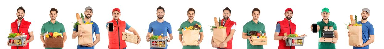 Collage of couriers with orders on white background. royalty free stock photography