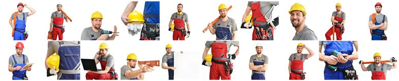 Collage with craftsman construction worker monteur - friendly worker in work clothes on white background royalty free stock photo