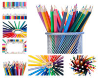 Collage of crayons Stock Photos