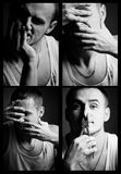 Collage crazy man Stock Image