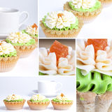 Collage with a cream cake basket Royalty Free Stock Image