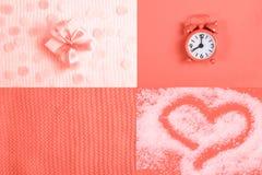 Collage creativo in di corallo - una tendenza principale di 2019 immagine stock