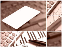 Collage with credit card (red) Royalty Free Stock Image
