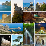 Collage of Crimea Ukraine images. Travel and nature background (my photos stock photos
