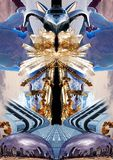 Collage with crystals, icebergs, architecture, plane and art object. This is a collage and print with a plane, crystals, modern building and art object. Fabric Royalty Free Stock Images