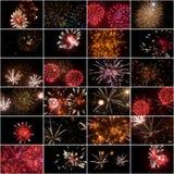 Collage cuadrado de los fuegos artificiales Fotografía de archivo