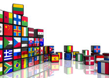 Collage from cubes with flags. Travel and world flags concept: collage from cubes with colorful flags isolated on white reflective background Stock Images