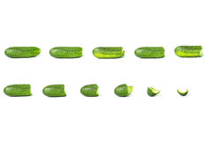 Collage of cucumbers. process of eating Stock Photo