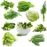Collage of culinary greens. isolated on white. Background Stock Photography
