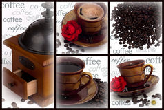 Collage with cup of coffee Royalty Free Stock Images