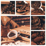 Collage of cup of coffee beans at summer journey Royalty Free Stock Image