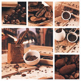 Collage of cup of coffee beans at summer travelling Stock Photos