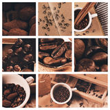 Collage of cup of coffee and chocolate truffles Stock Photography