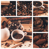 Collage of cup of coffee and douhnut at summer travelling Royalty Free Stock Photography
