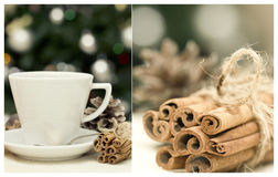 Collage with cup of tea and cinnamon stock photography