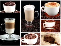 Collage of cups of coffee. Against a black background Stock Photography