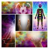 Collage curativo de las manos del ángel Fotos de archivo