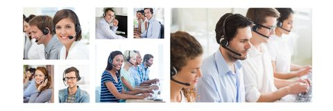 Collage of Customer Service help team in call center. Digital composite of Collage of Customer Service help team in call center royalty free stock image
