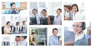 Collage of Customer Service help team in call center royalty free stock photos
