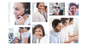 Collage of Customer Service help team in call center stock images