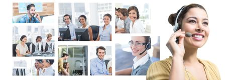 Collage of Customer Service help team in call center royalty free stock photo