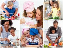 Collage of cute families. Cooking together royalty free stock image