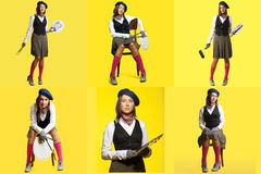 Collage of cute girl posing dressed as artist Stock Images