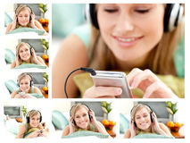 Collage of a cute woman listening to music Royalty Free Stock Images