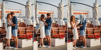 Collage. Cute young beautiful couple is hugging and kidding near to the small summer cafe at port, happy smiling outdoor royalty free stock photography
