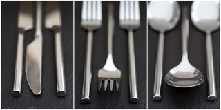 Collage of cutlery images on rustic style background Royalty Free Stock Photography