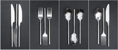 Collage of cutlery images on rustic style background Stock Images
