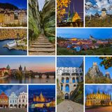Collage of Czech republic images my photos. Travel and architecture background Royalty Free Stock Photos