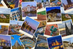 Collage of Czech republic images my photos. Travel and architecture background Stock Photo