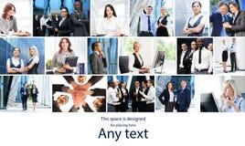 Collage d'affaires avec les jeunes Photo stock