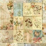 Collage d'annata delle stampe della farfalla e floreali Fotografia Stock