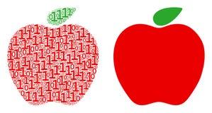 Collage d'Apple des éléments binaires Illustration Libre de Droits