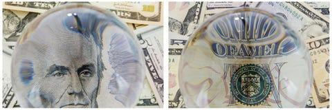Collage d'argent liquide d'argent de portrait du Président Lincoln Photos stock