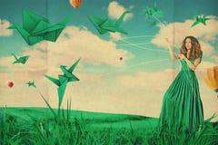 Collage d'art avec la belle femme, travail créatif Image libre de droits