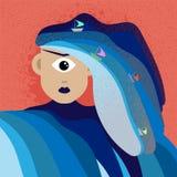 Collage d'art moderne illustration, exagération, comparaison, surréalisme, épouse des poseidon, maîtresse et reine drôles des mer illustration libre de droits