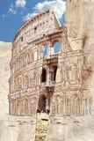 Collage d'aspiration de main de Colosseum Images stock