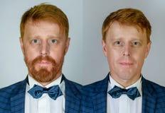 Collage d'homme bel sur rasé ou non rasé Ensemble d'homme roux de portrait sur des jeunes contre vieux Homme avec la barbe et la  photos stock