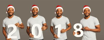 Collage d'homme de couleur avec 2018 portraits en bois de nombres Photographie stock libre de droits