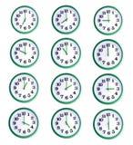 Collage d'isolement d'horloge murale Photos libres de droits