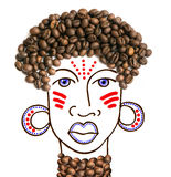 Collage d'un caractère fictif des cheveux décorés des grains de café images stock