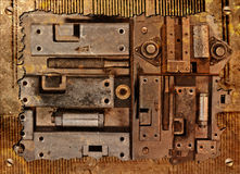 Collage d'un dispositif mécanique Photos stock