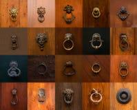 Collage d'un grand choix de heurtoirs et de poignées romains Photos stock