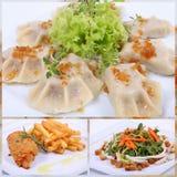 Collage d'un repas dinant fin Photos stock