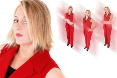 Collage d'une belle femme dans le procès rouge Images libres de droits