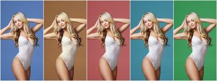 Collage d'une jeune, sportive et convenable femme dans les sous-vêtements blancs au-dessus du fond coloré différent Mode et beaut Photos stock