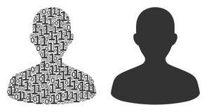 Collage d'utilisateur des éléments binaires Photos stock